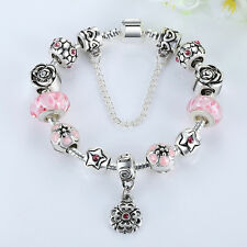 2015 Auction Silver Charms Bracelets DIY European Women With Pink Murano Beads