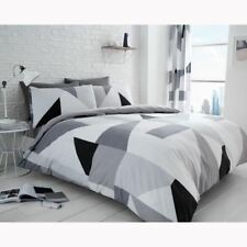 SYDNEY GEOMETRIC DOUBLE DUVET COVER & PILLOWCASE SET MODERN BEDDING - GREY