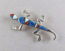 Sterling Silver Lizard Brooch Inlay 8.1g Southwest Design [2243]