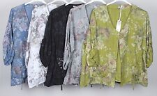 PLUS SIZE LADIES ITALIAN QUIRKY LAGENLOOK FLORAL PRINT LAYERING LINEN JACKET TOP