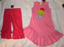 NWT Lemon Loves Lime Pink Ice Cream Tunic Top Dress Ruffle Capri Leggings 8 10