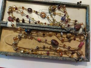 Vintage Style Murano Glass And Agate Flapper Bead Necklace