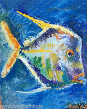 "Fish One 8""x10"" Limited Edition Oil Painting Print Signed Art by Artist Home Dec"