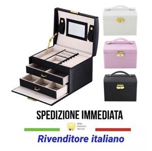 Portagioie Specchio Scatola Portagioielli espositore Porta Gioielli Eco Pelle
