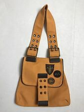 AUTHENTIC VINTAGE THOMAS BURBERRY YELLOW CLOTH -BADGE x Leather Brown PURSE BAG