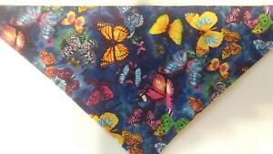 Dog Bandana, OVER THE COLLAR, Size S,M,L,XL, Butterflies on Navy!