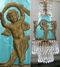 Lamp Chandelier SWAG Vintage bronze Dancing Cherub crystal prism beaded brass