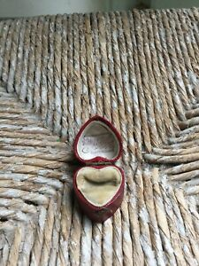 Rare Antique Vintage Heart Shaped Red Leather Engagement Ring Box - Valentines