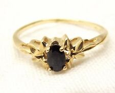 Vtg 10K Gold Blue Sapphire Ring Sz 7 Estate Oval Floral Leaf Elegant Natural