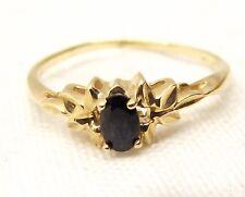 Vtg 10K Gold Blue Sapphire Ring Sz 7 Estate Oval Floral Leaf Elegant Natural