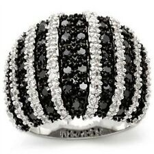 Black & White Pave Cubic Zirconia Stone Lady Elegant Ring Jewelry Size 5 or 6