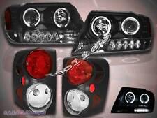 99-04 JEEP GRAND CHEROKEE HALO PROJECTOR BLACK AMBER HEADLIGHTS LED +TAIL LIGHTS