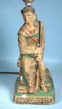 1950s Davy Crockett Table Lamp Painted Plaster Chalkware Figural Western Pioneer
