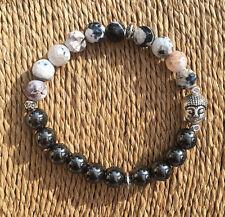 Black Hematite & White Fire Agate Silver Buddha Crystal Gemstone Bracelet Unisex
