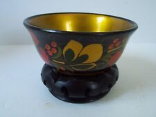 Floral Lacquered Wooden Round Bowl with Stand