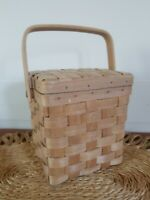 Adorable Small Vintage Woven Rattan Wicker Basket with Wood Handle