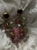 Clip On Earrings 1980s Multi-Coloured Party Vintage Retro Drop Dangle Beaded Old