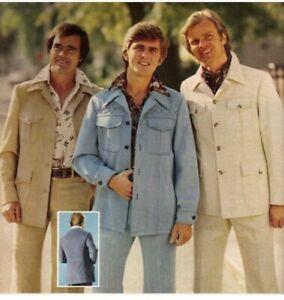Men's 1970s Tan Leisure Suit Jacket L 45 Long Pants 36 X 33 70s Vtg Polyester