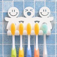 1xSmile Face Home Badezimmer Küche 5 Zahnbürstenhalter Wall Sucker Mount