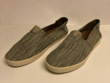 Toms Mens Canvas Slip On Shoes Size 10.5 Medium Gray Stripe