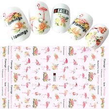 Flamingo 3D Nail Stickers Romantic Love Ultra-thin Adhesive Nail Transfer Decal