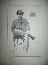 HECTOR MALOT ECRIVAIN JOURNALISTE PORTRAIT LITHOGRAPHIE PAR DE LA BARRE 1887