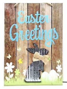 EASTER GREETINGS Wall Sign With Galvanized Metal Bunny A Bow and Glitter SALE