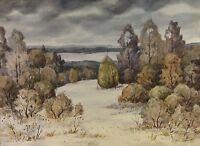 Russischer Maler B. Mas.? BITTE ANSEHEN Aquarell: HERRLICHE LANDSCHAFT IM WINTER