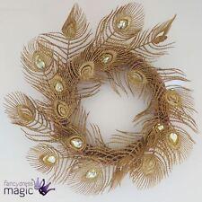 Gisela Graham BRILLO DORADO PLUMAS DE PAVO REAL Joya Decoración Navidad Corona