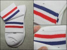 White/Blue/Red OLD SCHOOL Striped Tube Socks Skater No.s009