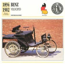 Benz Velociped Sport 1894-1902 Germany Allemagne CAR VOITURE CARTE CARD FICHE