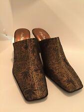 "Anna Michelle Shoes Clogs  Size 8 4"" In Heel bronze NIB jetset05"