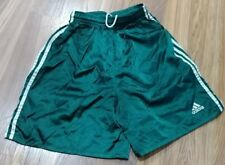 VINTAGE Adidas Mens SMALL Shiny Green Shorts Soccer Athletic Drawstring Elastic