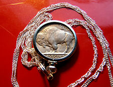 "1935 AMERICAN ANTIQUE BUFFALO Nickel PENDANT  22"" 925 Silver Twist Wavy Chain"