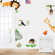 Jungle Animals  Kids Baby Nursery Child Home Decor Mural Wall Stickers Decal US