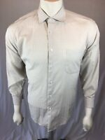 Men's Jhane Barnes 16 Large 32/33 Euro Fabric Cotton Pea Green Blue L/S Shirt