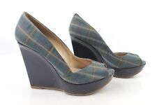 Court shoes Plateau Wedge ANDRE T 37 Leather and Tartan Blue VERY GOOD CONDITION