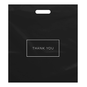 Thank You Bags Shopping Bags Plastic for Boutique Merchandise Gifts 100 Pack L