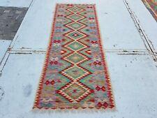 6'11 x 2'7 Handwoven Afghan Wool Kilim Rug Runner Flat Weave Kelim Carpet #8111