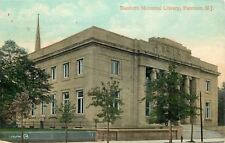 Paterson NJ Young Trees Before, Church Behind, Danforth Library~1908 Postcard pc