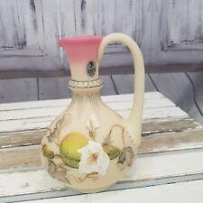 Fenton Glass swan vase burmese flower ltd martha reynolds robinson signed vines