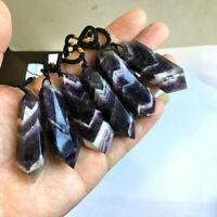 Gemstone Natural Amethyst Crystal Quartz Healing Chakra Stone Pendant Necklace