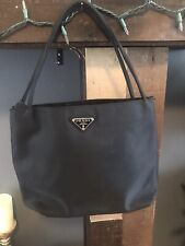 Vintage PRADA Nylon Handbag Shoulder Tote Black Authentic