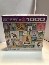 """EuroGraphics Yoga Cats 1000-Piece Puzzle 19 1/4"""" x 26 5/8"""" Used"""