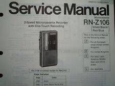 PANASONIC RN-Z106 Micro Cassette Recorder Service manual wiring parts diagram
