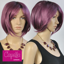 Celebrity Straight Purple Dark Roots Sloping Bob Wig Hair