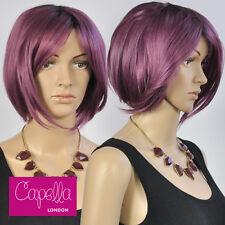 Celebrity Straight Purple Dark Roots Sloping Bob Wig Hair