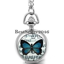 Fashion Quartz Sheet Music Butterfly Numerals Pocket Watch Women Ladies Necklace
