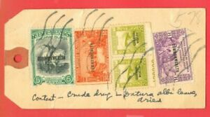 Philippines 5 stamp Overprint COMMONWEALTH used on Registered PARCEL TAG to USA
