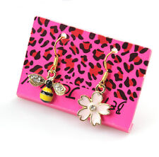 Betsey Johnson Mismatched Bee Flower Drop Dangle Gold Earrings Free Gift Bag
